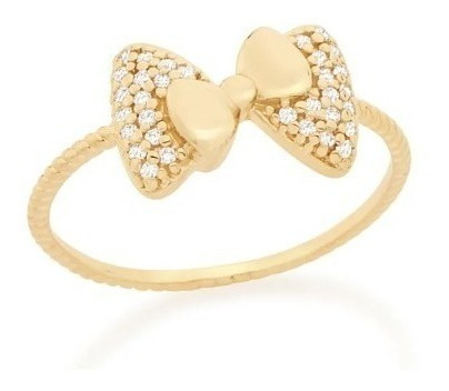Anel Rommanel Skinny Ring Laço Com Zirconias 512444 Folheado