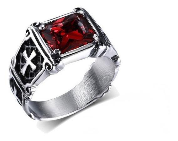 Anel Masculino Templário Aço Inox Prata Com Pedra Vermelha