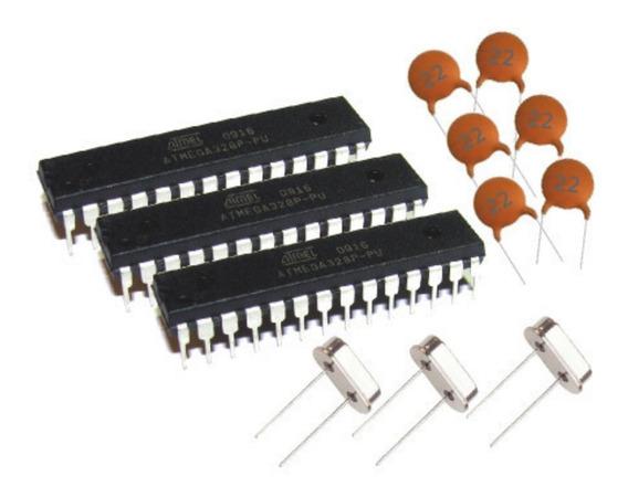 3 Atmega328p-pu + Capacitores + Cristal + Bootloader