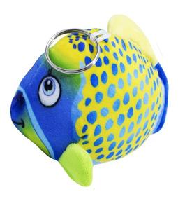 Chaveiro Peixe Amarelo Pintas E Rosto Azul 16cm - Pelúcia