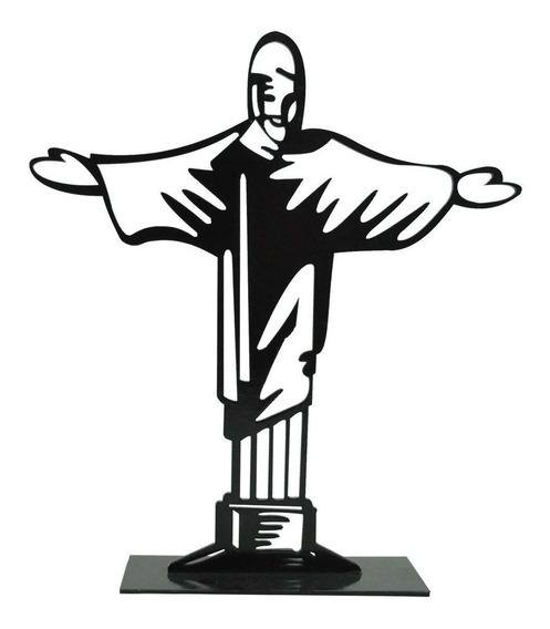 Enfeite D Mesa Cristo Redentor 21x18,5cm Mdf Madeira Pintado