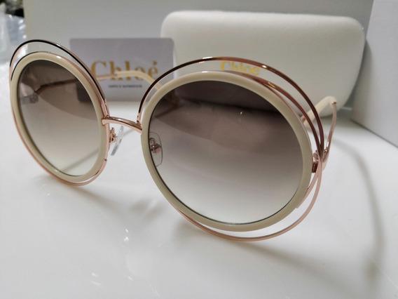 Óculos De Sol Chloé Carlina Ce114s Rosê Com Lente Marrom Degradê E Aro Nude