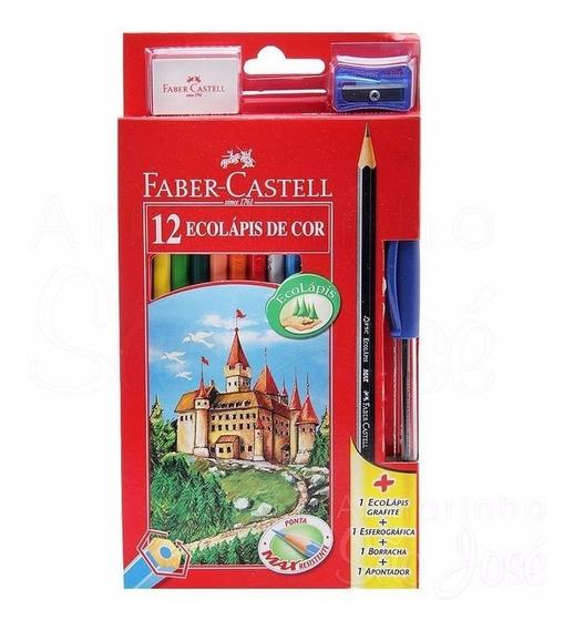 Lápis De Cor Faber-castell Kit 12 Cores Sextavado + Caneta