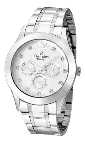 Relógio Champion Feminino Multifunção Prata Original Nf