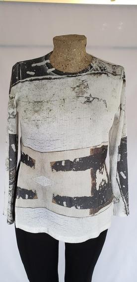 Sweater Natural Con Detalles En Tonos De Negro T/3