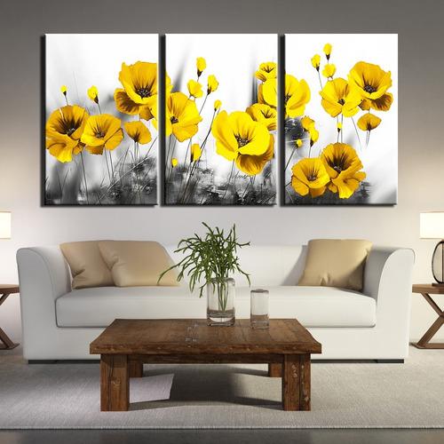 Quadro Decorativo Sala Quarto Tulipas Amarelas Flor