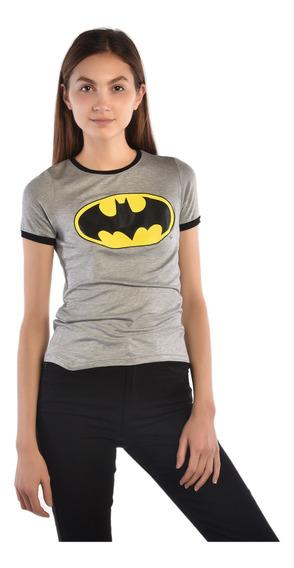 Playera American Level Batman Gris Mujer