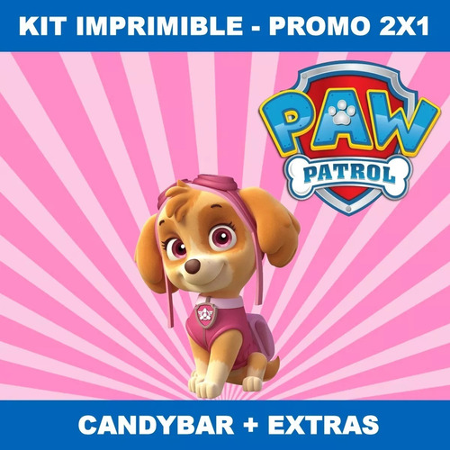 Kit Imprimible Paw Patrol Patrulla Nena Candy Bar 2x1