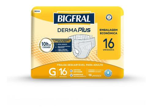 Imagem 1 de 5 de Fralda Bigfral Derma Plus Tamanho G - 16 Unidades