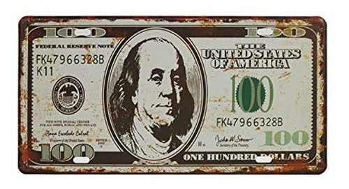Placa De Licencia $ Billete De 100dólares
