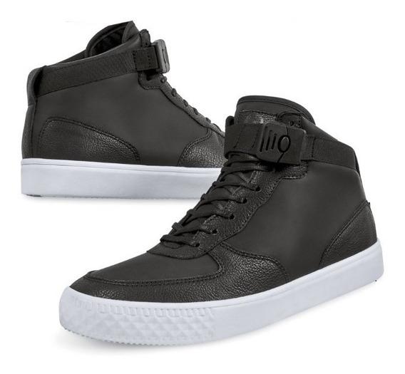 Tenis Sneakers Botin Hombre Caballero Casual Tipo Piel Negro