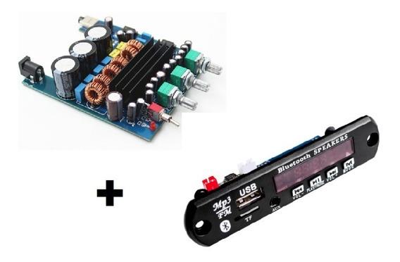 Placa Amplificador Digital 2.1 200w Decodificador Bluetooth