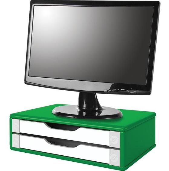 Suporte De Mesa Para Monitor 2 Gavetas Mdf Verde E Branco 1 Un Souza