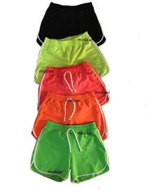 Kit Com 10 Shorts Neon Feminino Crepe Com Cadarço P M G Gg