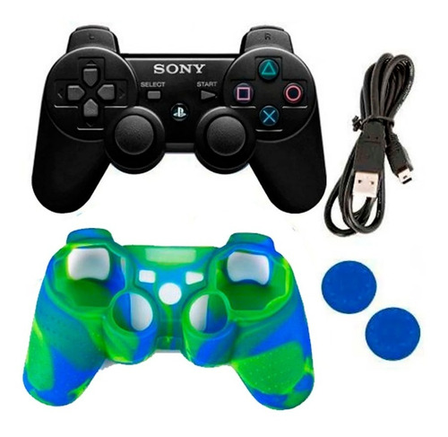Control Sony Ps3 Inalambrico  + Cable + Forro + Grips