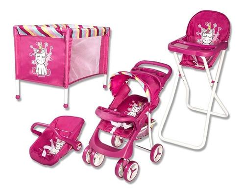 Set De Coche De Muñeca+baby Silla+cuna+silla De Comer, Envío