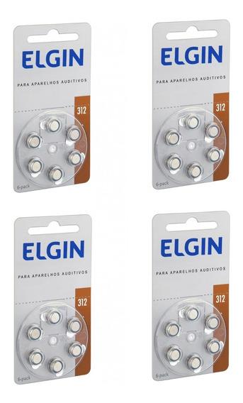 Bateria Para Aparelho Auditivo 1.45v Pr41 312 Elgin 24 Peças
