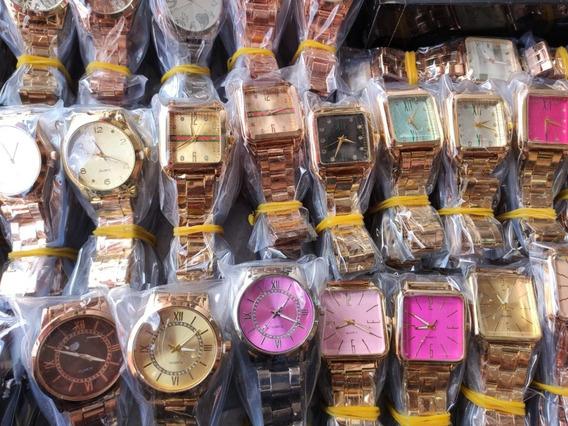 Kit 10 Relógio Feminino Pulseira De Metal Cores Variadas
