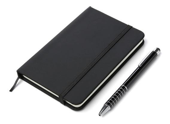 Cuaderno Eco Cuero Soft Mate Hojas Rayadas Bolígrafo Metal