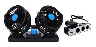 Ventilador Auto 12v 5 Aspas Doble 4 PuLG + Adaptador 3 Bocas