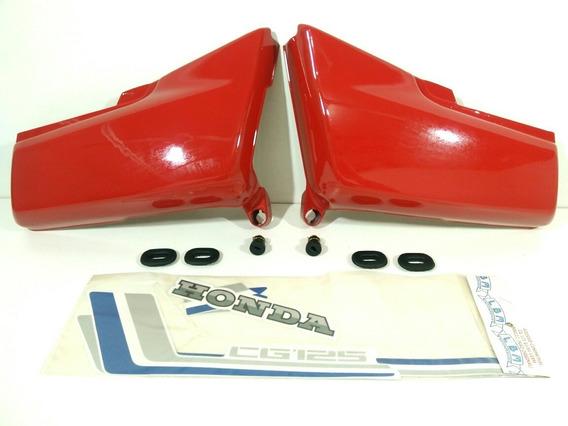 Tampas Laterais+ Faixas+ Kit Coxim Cg 125 1983/84 Vermelha