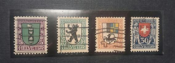 Estampillas Suiza Pro Juventud 1925 Ivert 218/21 Usadas