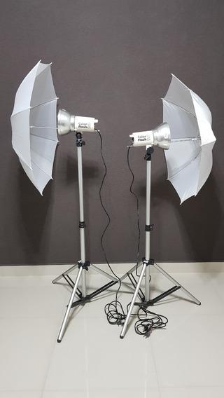 Kit Iluminação Studio Fotográfico Collor Flash 2 - Incoflash