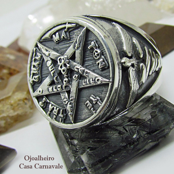Anel Sagrado Tetragrammatton Prata Maciça 950 K Ojoalheiro