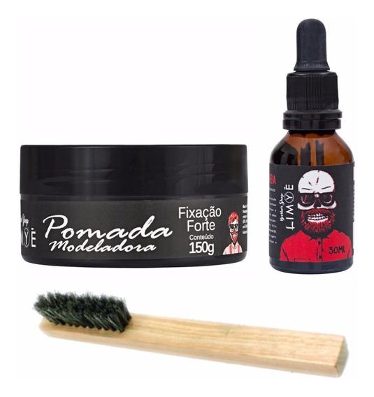 Pomada Modeladora + Oleo + Escova P/ Barba Em Madeira Limye