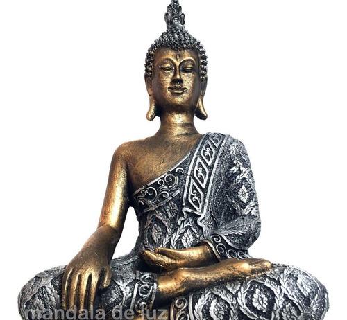 Estátua De Buda Grande Dourado E Prateado Resina 32cm Mercado Livre
