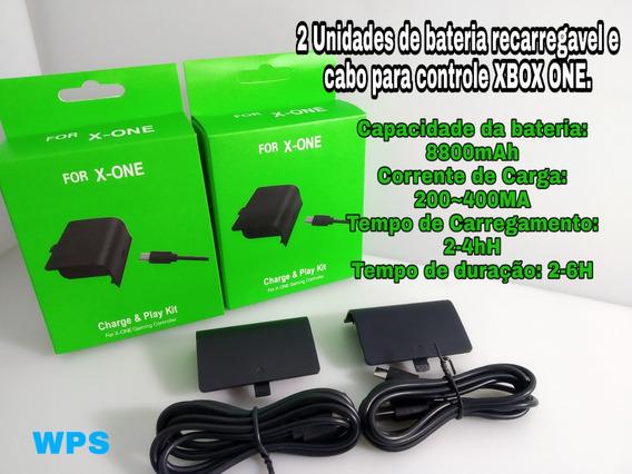 2 Baterias E Cabos Carregador Para Controle Xbox One 8800mah
