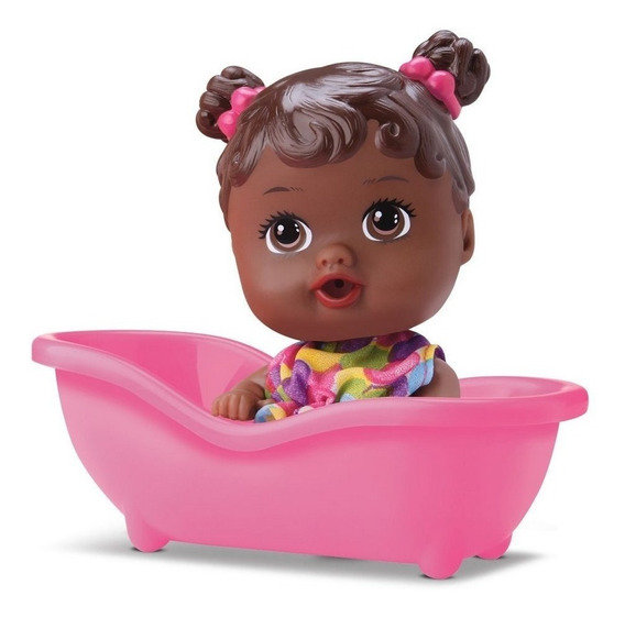 Boneca Bebe Little Dolls Banheirinha Negra - Divertoys