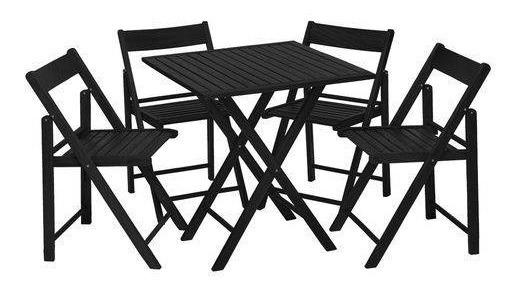 Jogo Mesa Bar Beer C/ 4 Cadeiras Flexo Gourmet Black