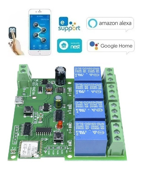 Interruptor 4ch Canais Botoeira Auto Bloqueio E Pulso Wifi Automação Residencial (sonoff) Promoção