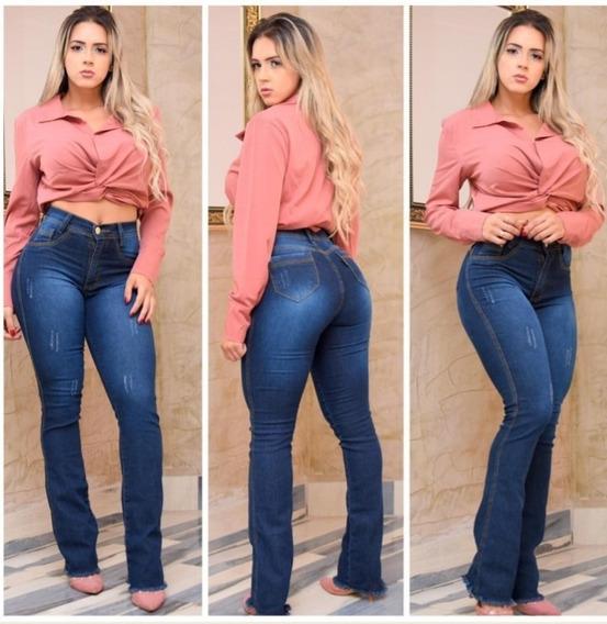 Calça Jeans Feminina Flare Cintura Alta Com Lycra Barata!