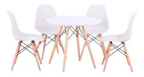 Jogo Mesa 80 Cm 4 Cadeiras Eiffel Sala Jantar Branca