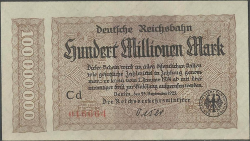 Alemania Deuts. Reichbahn 100000000 Mark 25 Sep 1923 S1017a