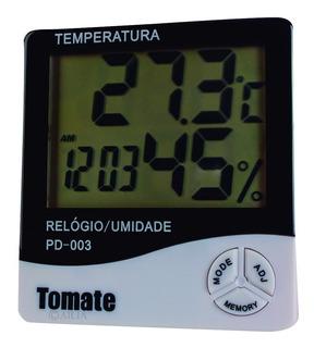 Termo-higrômetro Temperatura E Umidade Relógio Digital Lcd