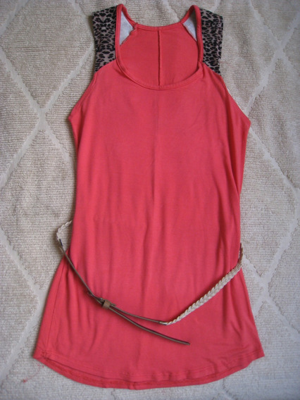 Remera Larga O Vestido Rosa Con Cinturón Talle S