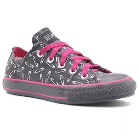 Tênis Converse All Star Print Clips Ox Preto Pink Original