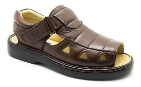 Sandália Masculina 303 Em Couro Floater Café Doctor Shoes