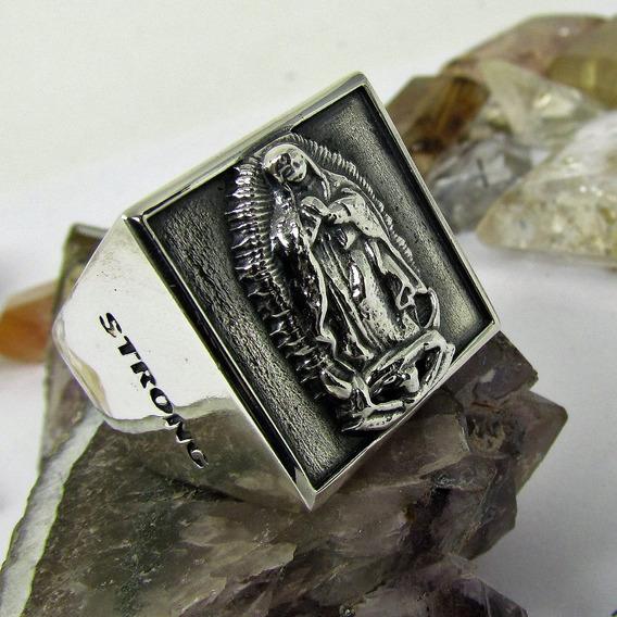 Anel Proteção Guadalupe Prata Maciço Ojoalheiro