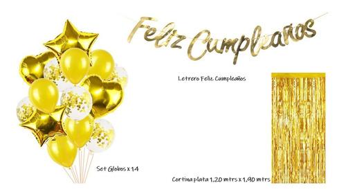 Kit Cumpleaños Dorado Cortina + Globos + Letrero + Platos