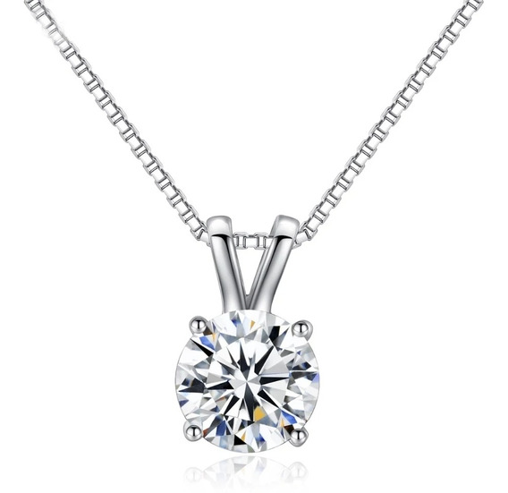 Fino Collar Solitario Corte Diamante 2ct Baño Platino Envío
