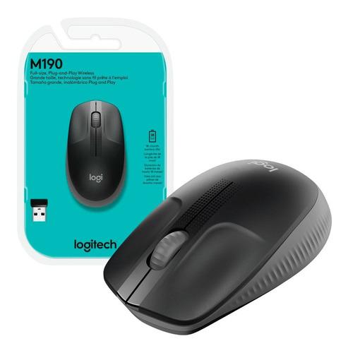 Imagem 1 de 8 de Mouse Grande Sem Fio Logitech M190 Usb Wireless 1000 Dpi
