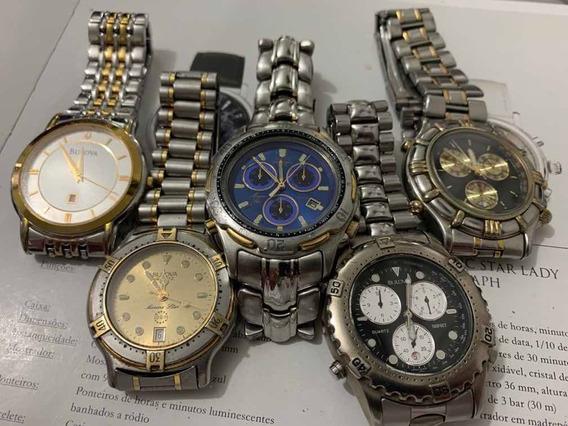 Bulova - Lote 5 Relógios Quartz - Vide Descrição