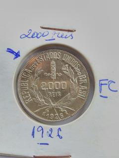 Moeda Antiga 2000 Reis 1926 Fc Gratis 10 Cedulas De 1 Real