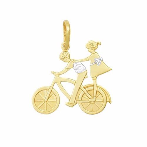 Pingente Casal Bicicleta Ródio Menino Menina Folheado A Ouro