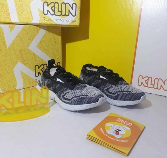 Tênis Menino Infantil Esportivo Klin Genesis Cinza + Frete