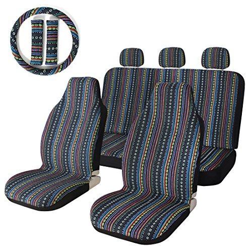 Imagen 1 de 9 de 10pc Stripe Colorful Seat Cover Baja Blue Saddle Blanket Wea